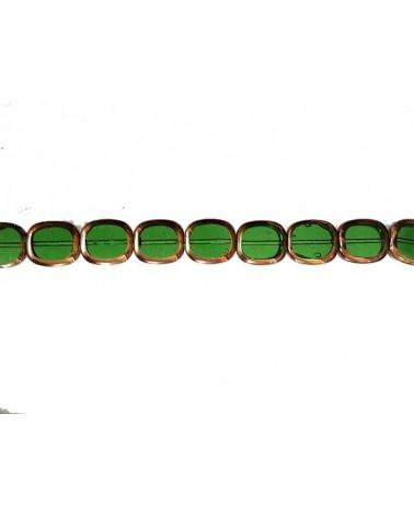 Rectangle vitrail 14mm vert bouteille X1