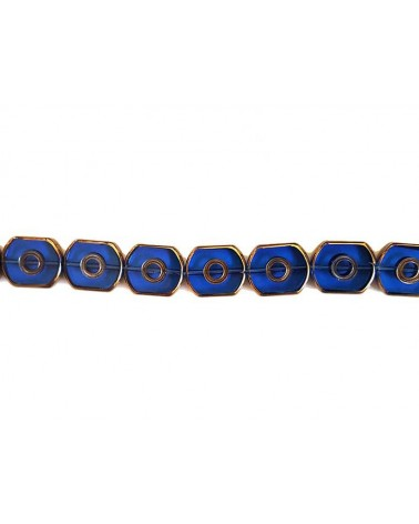Rectangle vitrail pois 16mm bleu X1