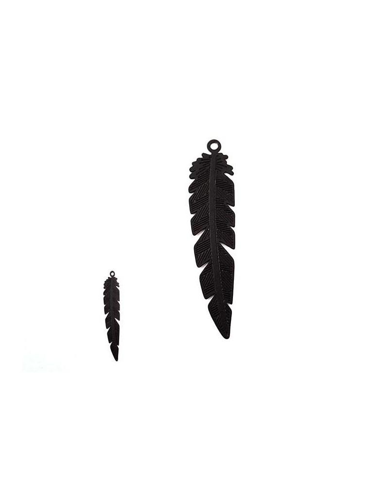 Pendentif feuille 35mm noir mat x1