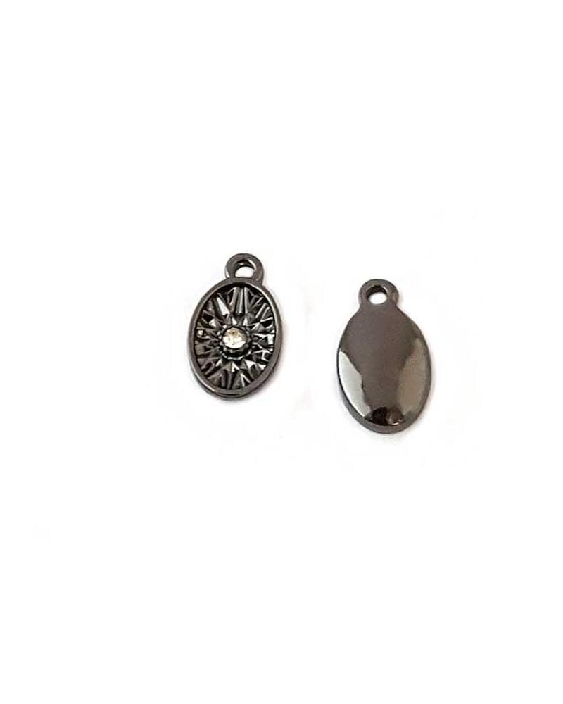 Breloque goutte noire et strass 11mm x1