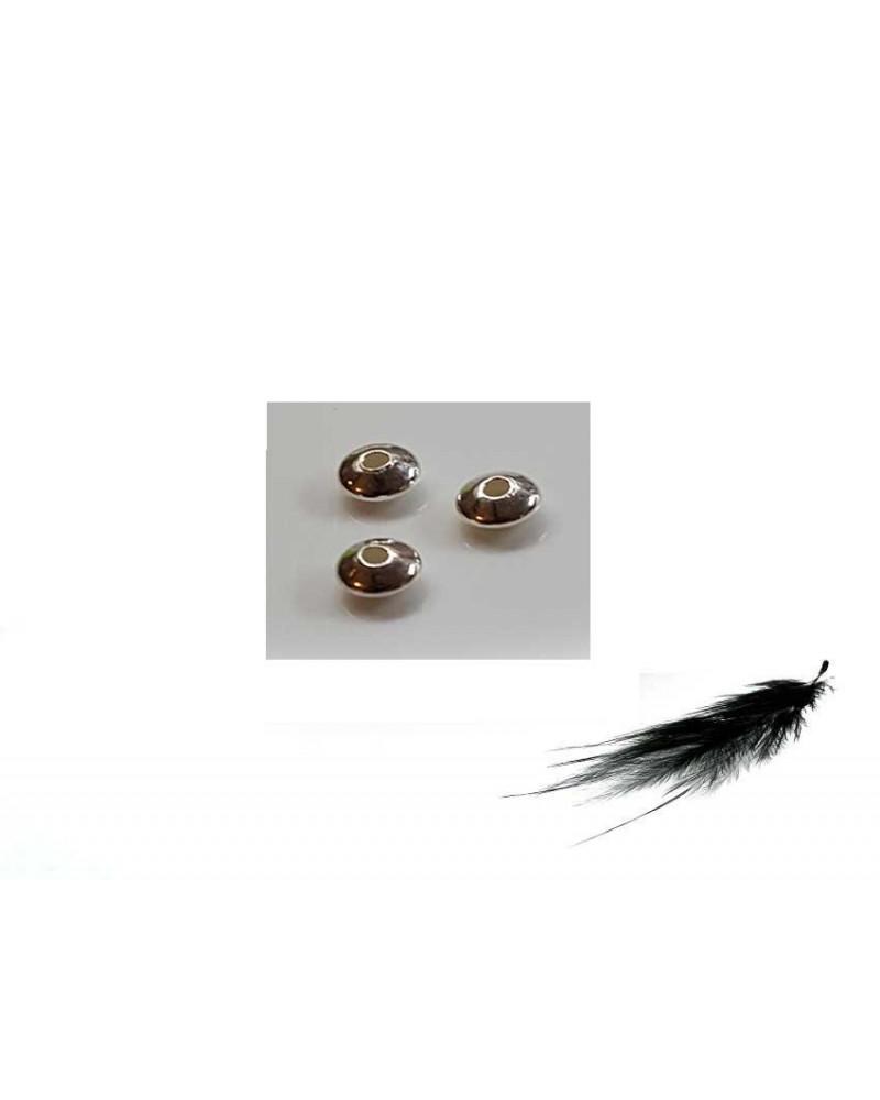 Bicone plat 4.5x2.5mm argent 925 x1