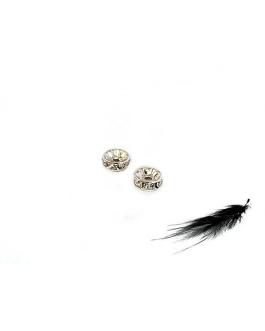 Rondelle Strass AAA 8mm crystal-argent  X1