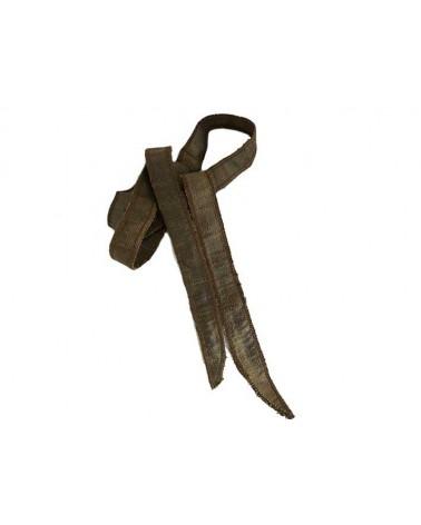 Ruban pure soie teint à la main Bronze environ 90cm