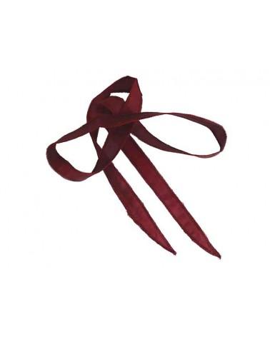 Ruban pure soie teint à la main Bordeaux 90cm
