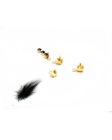 Embout chaine strass 1,5-2mm doré x 4