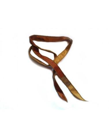 Ruban pure soie teint à la main Cuivre et Or 90cm