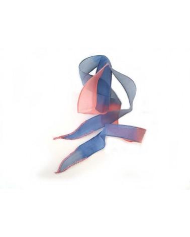Ruban pure soie teint à la main bleu et rose 90cm