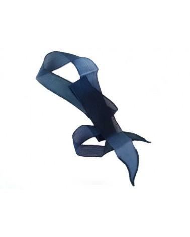 Ruban pure soie teint à la main trois bleus 90cm