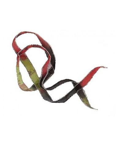 Ruban pure soie teint à la main Rouge Vert Noir 90cm