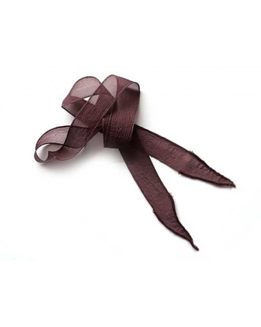 Ruban pure soie teint à la main Aubergine 90cm