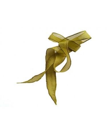 Ruban pure soie teint à la main Vert Anis 90cm
