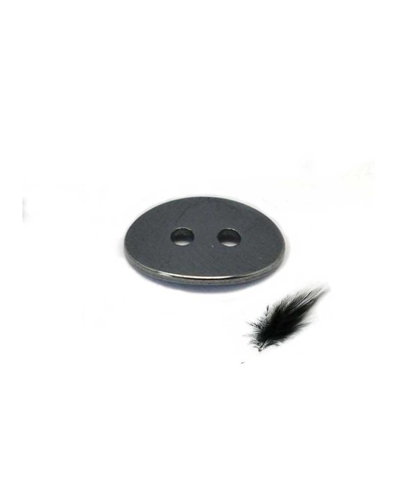 Hématite Bouton connecteur 14x10 noir X1