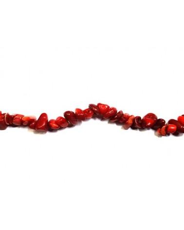 Pépites corail rouge 6-9mm x10cm