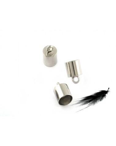 Embout cylindrique pour cordon 9mm acier inox X 2