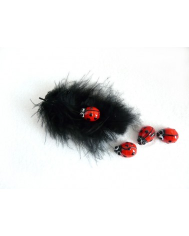 Coccinelle rouge 14x11mm X2