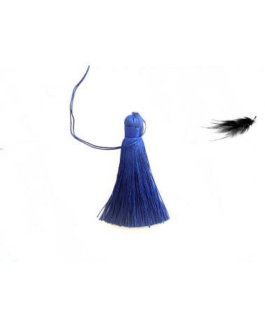 Pompon polyester 8cm Bleu outremer X1