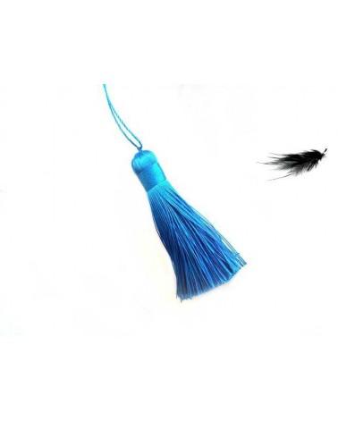 Pompon polyester 8cm Bleu lagon X1