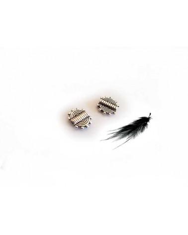 Perle plate 9.5mm Argenté vieilli par 10