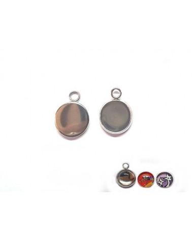 Breloque médaillon acier inox pour cabochon 10mm X1