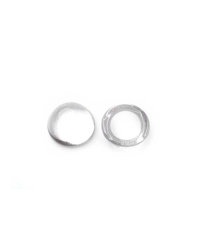 Cabochon verre loupe 10mm x5.3mm crystal x1