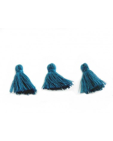 Mini Pompon satiné 15-18mm bleu canard X1