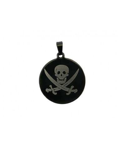 Pendentif médaillon pirate acier inox x1