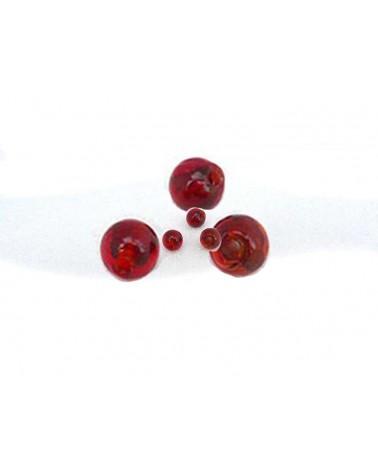 Perle-verre-Rouge-feuille-d'argent-6mm x 15
