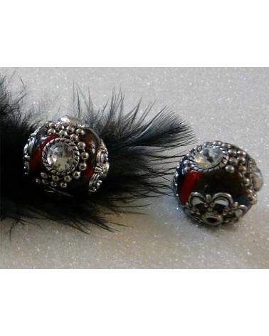 Perle d'indonésie 19mm tricolore 4 strass blancs X1
