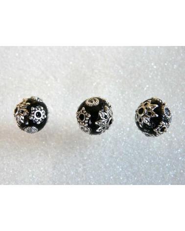 Perle d'indonésie 12mm NOIR strass blanc x1