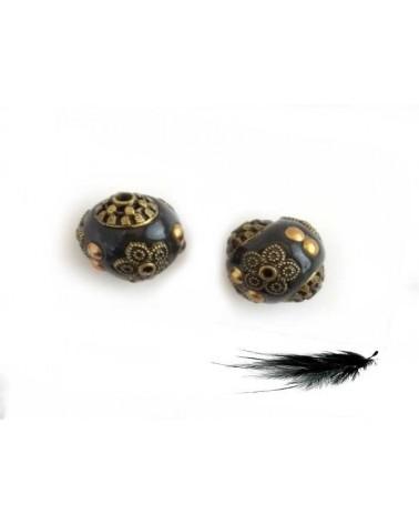Perle d'indonésie 15mm Gris et bronze doré X 1