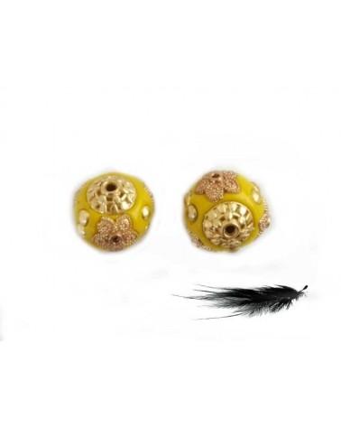 Perle d'indonésie 15mm Jaune et or X 1