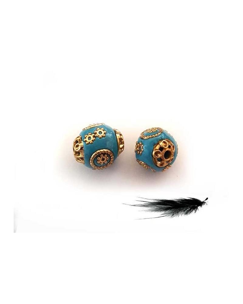 Perle d'indonésie 15mm Turquoise doré X 1