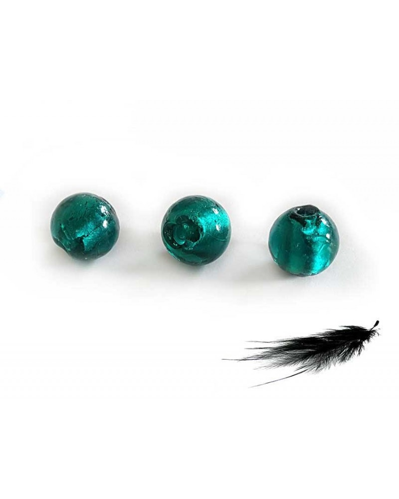 Verre et feuille d'argent 8mm turquoise x15