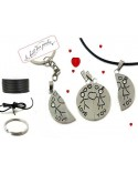 "Pendentif couple ""i love you"" séparable acier inox + attaches"