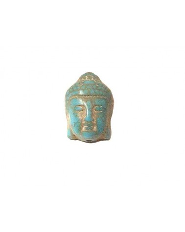 Tête de bouddha 20x15mm imitation howlite turquoise x1