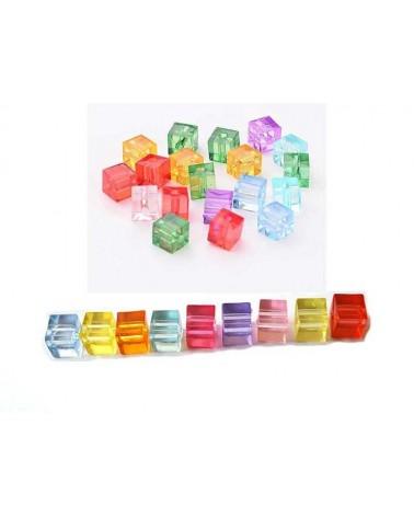 Cube transparent 7x7mm acrylique mix X 20
