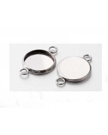 Intercalaire Médaillon pour cabochon 12mm Acier inox X 1