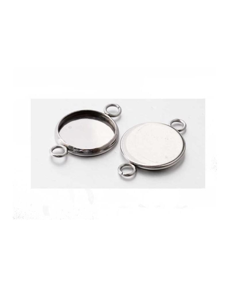 Intercalaire Médaillon pour cabochon12mm Acier inox