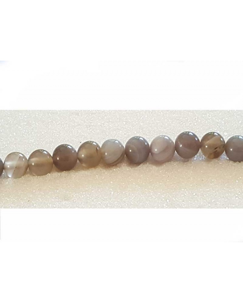 Agate lisse 8mm Gris X 10