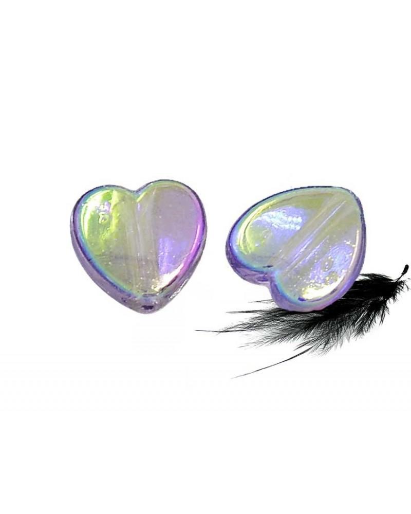 Coeur 8mm acrylique violet AB X 10