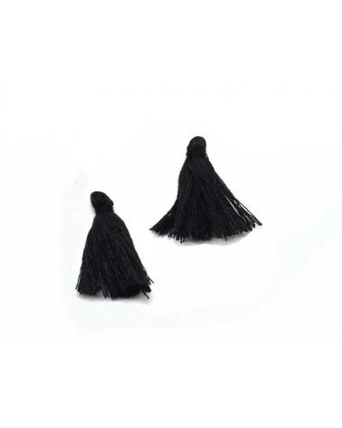 Pompon 25-29mm aspect coton noir x1