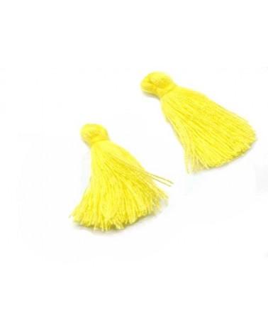 Pompon 25-29mm aspect coton jaune x1