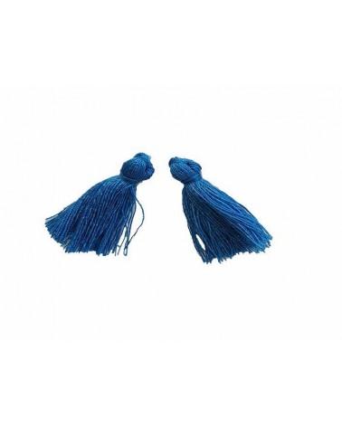 Pompon 25-29mm aspect coton bleu pétrole x1