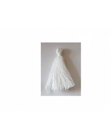Pompon 25-29mm aspect coton Blanc x1