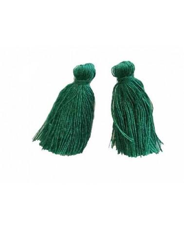 Pompon 25-29mm aspect coton vert x1
