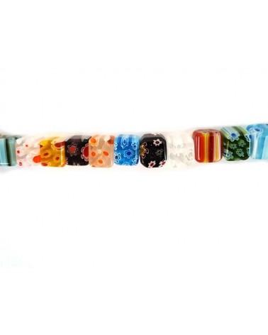 20 Perles Rondes 8mm en VERRE MILLEFIORI Multicolore Artisanales