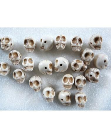 Crâne Blanc cassé Howlite 12mm X 1 ou par 10