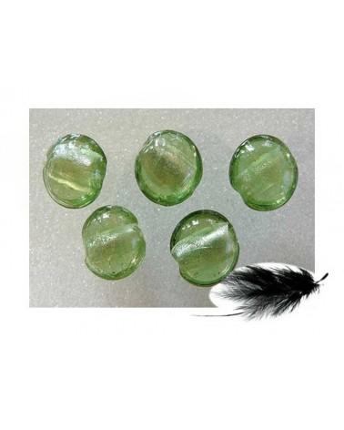Lentille feuille d'argent 15mm vert d'eau X 1