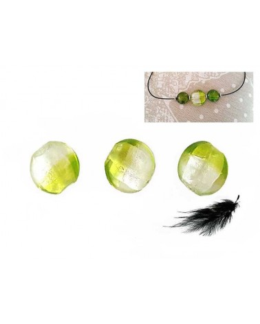 Lentille 20mm Vert clair et feuille d'argent x 1
