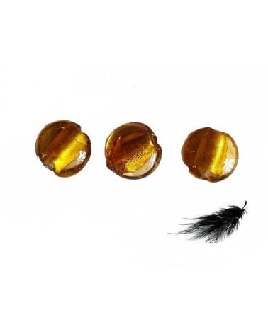 Lentille feuille d'argent 15mm jaune d'or X 1